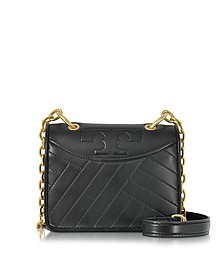 Alexa Black Leather Mini Shoulder Bag - Tory Burch