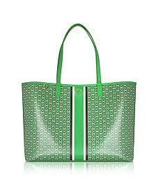 Court Green Gemini Link Stripe Canvas Tote - Tory Burch