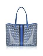 Tory Burch Shopping Bag in Canvas Blu con Logo Gemini Link - tory burch - it.forzieri.com