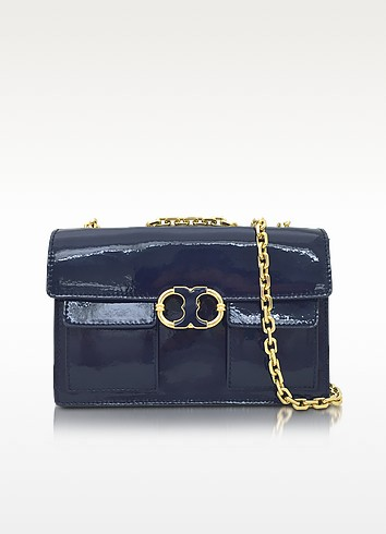 Gemini Link Royal Navy Patent Leather Chain Shoulder Bag - Tory Burch