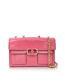 Gemini Link Cosmo Pink Patent Leather Chain Shoulder Bag - Tory Burch