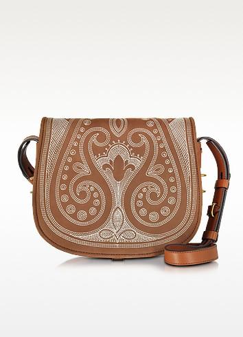 Caramel Leather Embroidered Medium Saddle Bag - Tory Burch