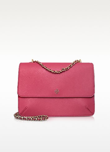 Robinson Dark Peony Soft Saffiano Leather Convertible Shoulder Bag - Tory Burch