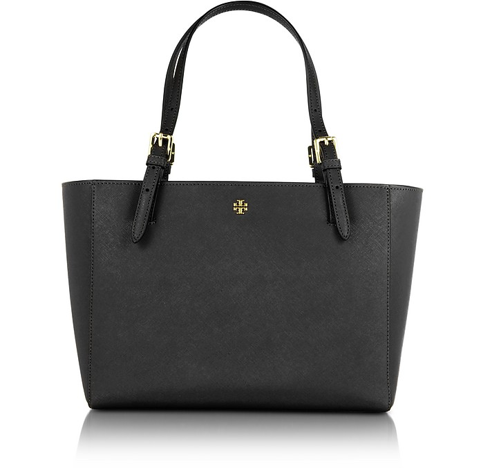 York Black Saffiano Leather Small Top-Zip Buckle Tote - Tory Burch