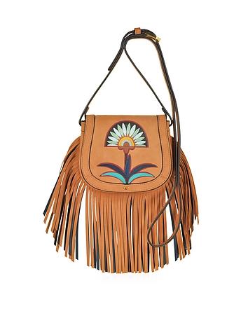 Lilium Applique Camel Suede Fringe Mini Saddle Bag