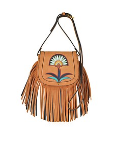 Lilium Applique Camel Suede Fringe Mini Saddle Bag - Tory Burch