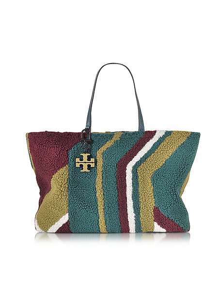 Foto Tory Burch Britten Oceano Shopper Reversibile in Shearling e Suede Multicolor Borse donna