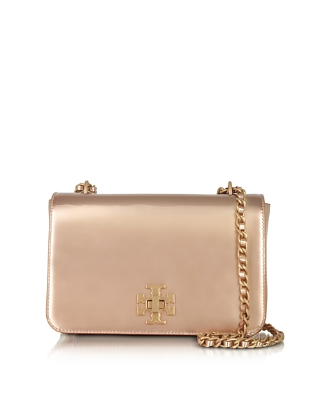 Foto Tory Burch Mercer Borsa con Tracolla in Pelle Rose Gold Metallizzata Borse donna