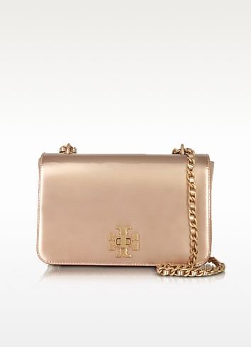 Tory Burch Mercer Rose Gold Metallic Leather Adjustable Shoulder ...