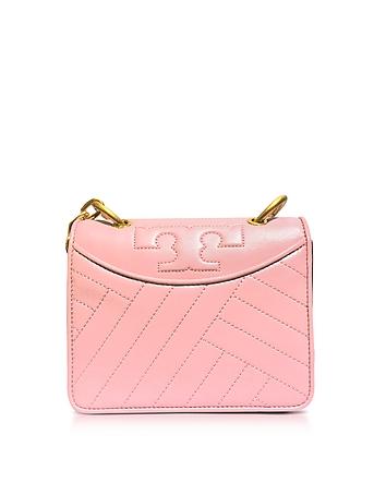 Tory Burch - Alexa Dark Pink Quartz Leather Mini Shoulder Bag