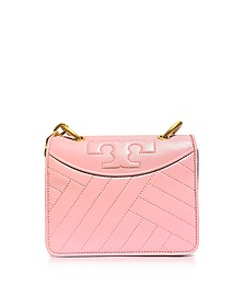 Alexa Dark Pink Quartz Leather Mini Shoulder Bag - Tory Burch