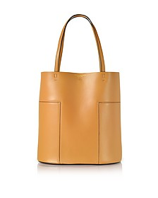 Block-T Aged Vachetta Leather Medium Tote - Tory Burch
