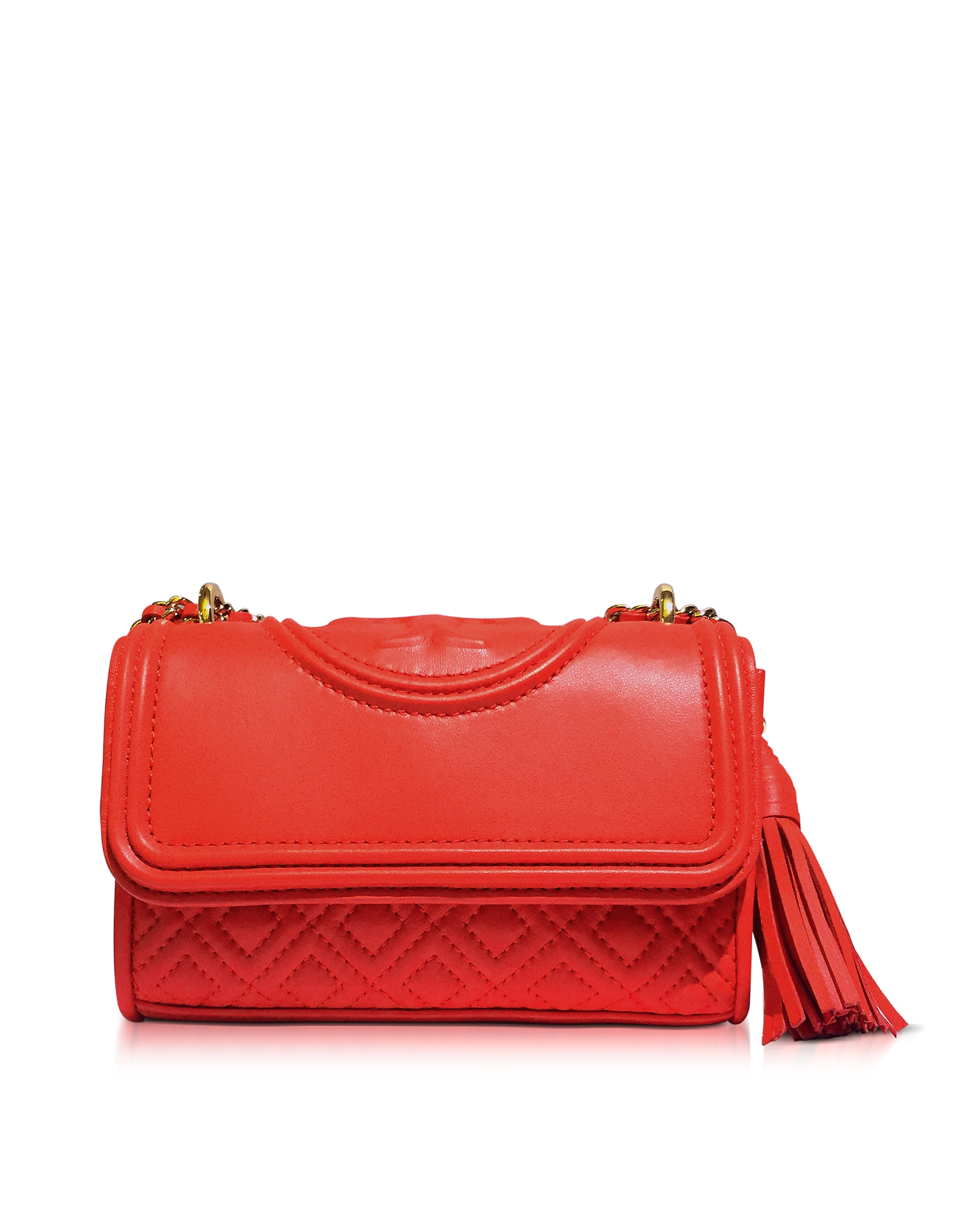 Tory Burch Handbags, Fleming Red Volcano Leather Micro Shoulder Bag