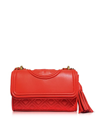 Fleming Red Volcano Leather Micro Shoulder Bag - Tory Burch