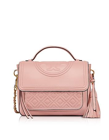 Shell Pink Fleming Leather Satchel Bag w/Shoulder Strap ty130318-039-00