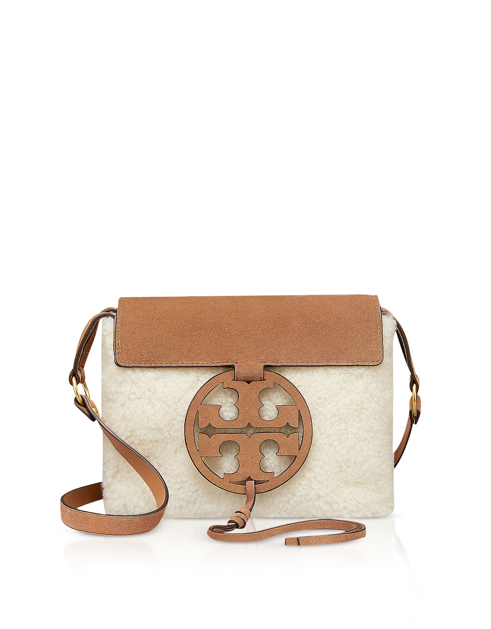 FESTIVAL BROWN SHEARLING AND LEATHER MILLER CROSSBODY BAG