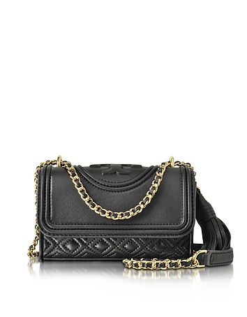 Tory Burch - Fleming Black Leather Micro Shoulder Bag