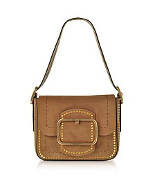 Sawyer Festival Brown Stud Suede Small Shoulder Bag - Tory Burch