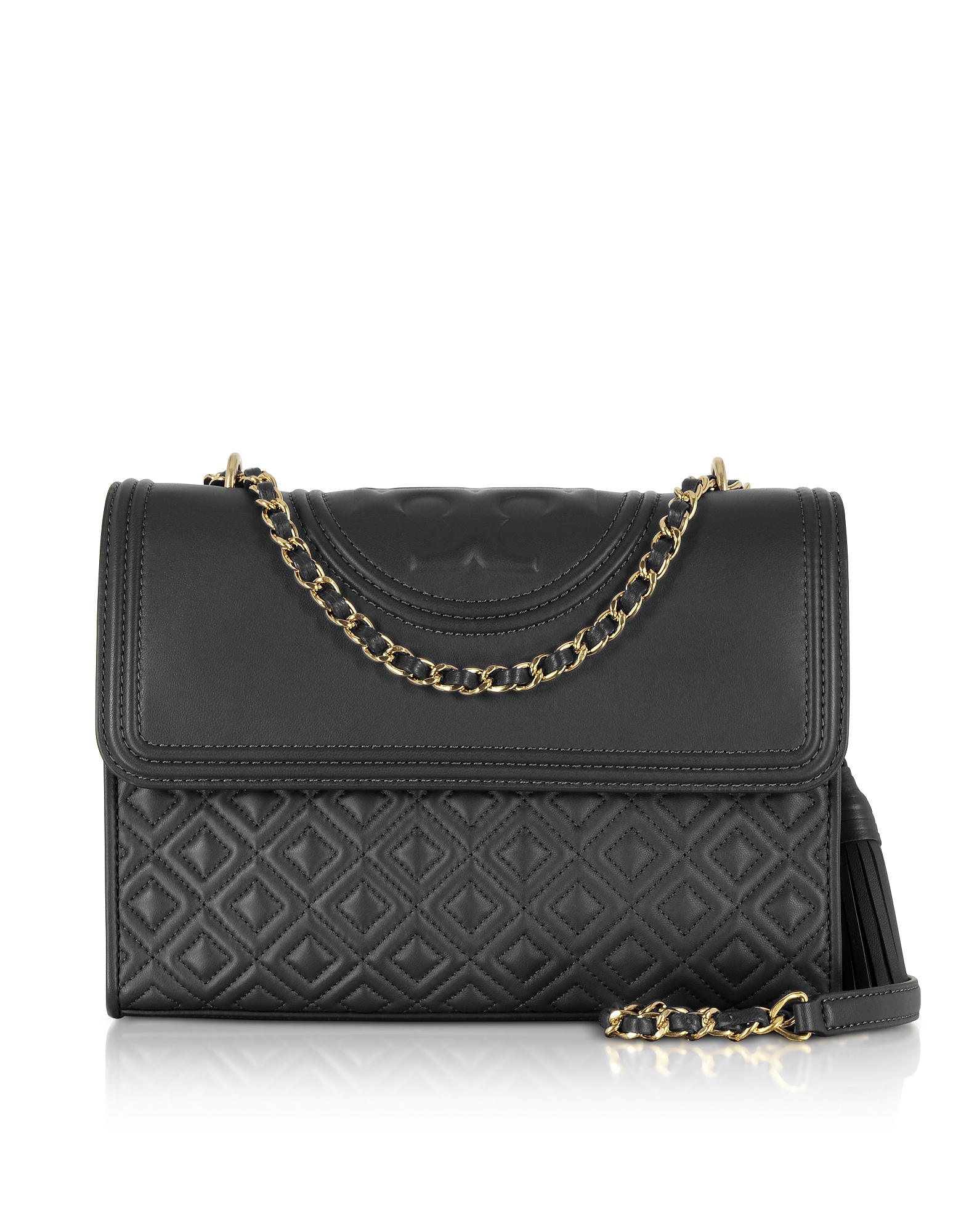 Tory Burch Handbags, Fleming Black Leather Convertible Shoulder Bag