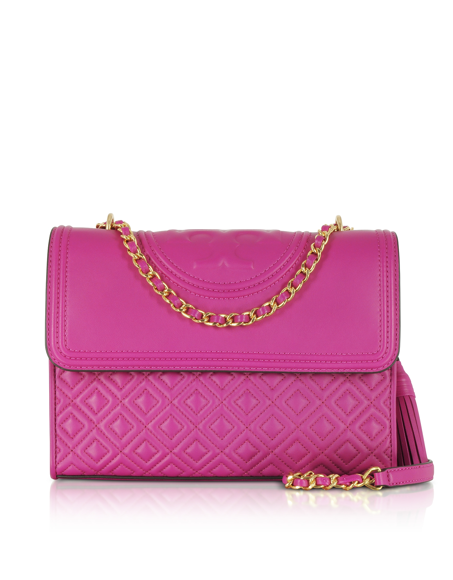 Tory Burch Handbags, Fleming Party Fuchsia Leather Convertible Shoulder Bag