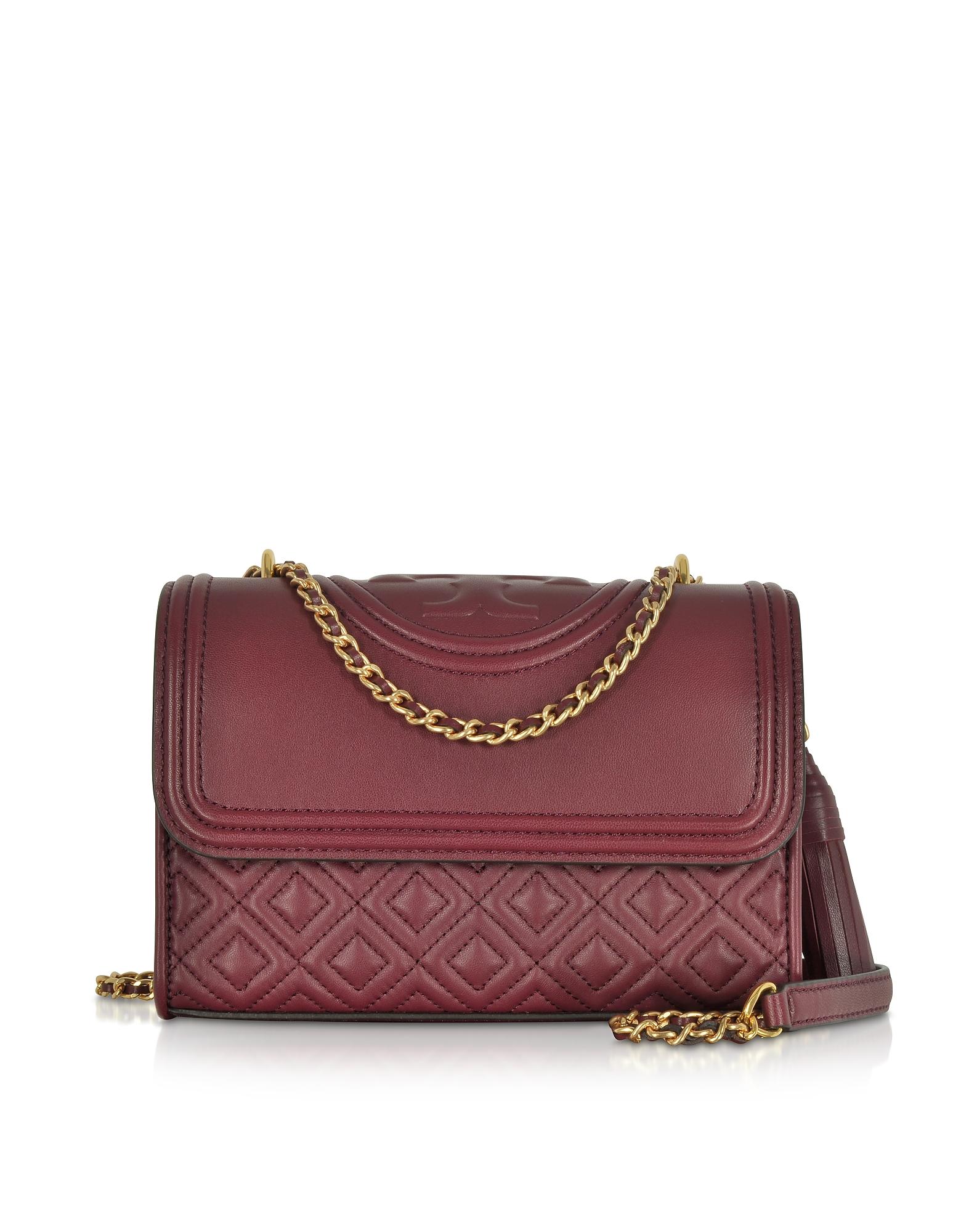 Tory Burch Handbags, Fleming Imperial Garnet Leather Small Convertible Shoulder Bag