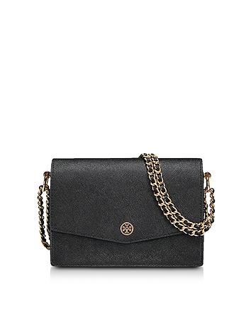 Tory Burch Robinson Black Leather Mini Shoulder Bag