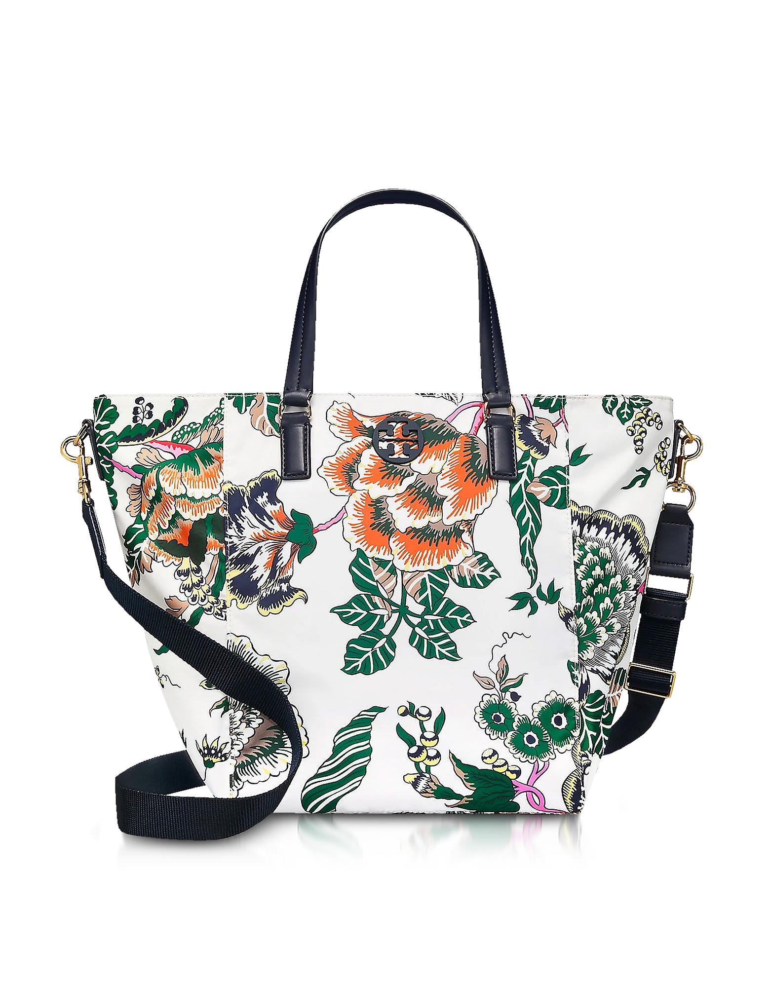 Tory Burch Handbags, Tilda Ivory Happy Times Printed Nylon Small Tote Bag