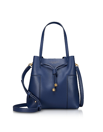 Tory Burch Royal Navy Leather Block-T Small Bucket Bag