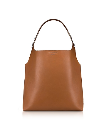Tory Burch Rory Light Umber Leather Tote Bag