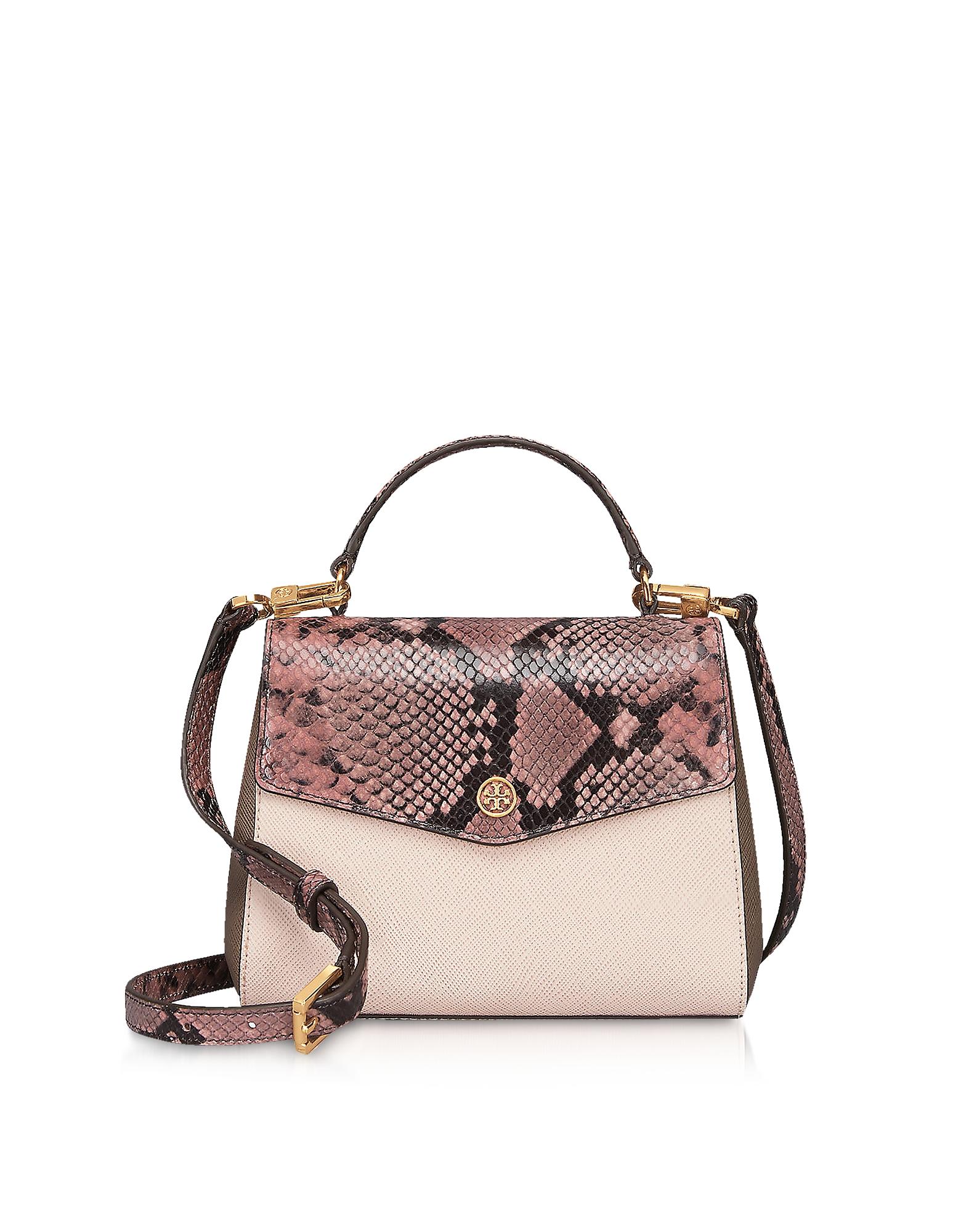 Animal Printed Leather Robinson Small Top-Handle Satchel Bag
