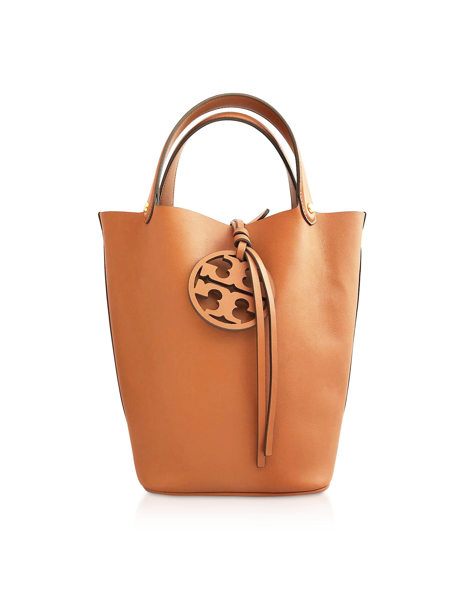 TORY BURCH   Tory Burch Designer Handbags, Aged Cammello Miller Bucket Bag   Goxip