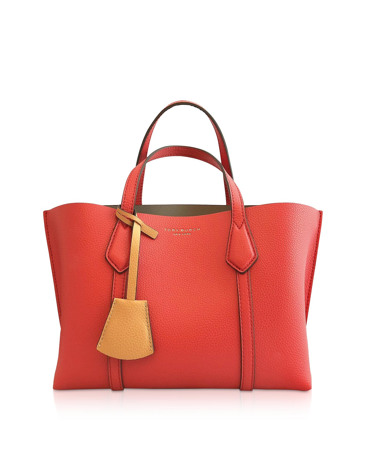 TORY BURCH   Tory Burch Designer Handbags, Brilliant Red Perry Small Triple-Compartment Tote   Goxip