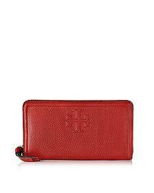 Thea Pebbled Leather Multi Gusset Zip Continental Wallet - Tory Burch