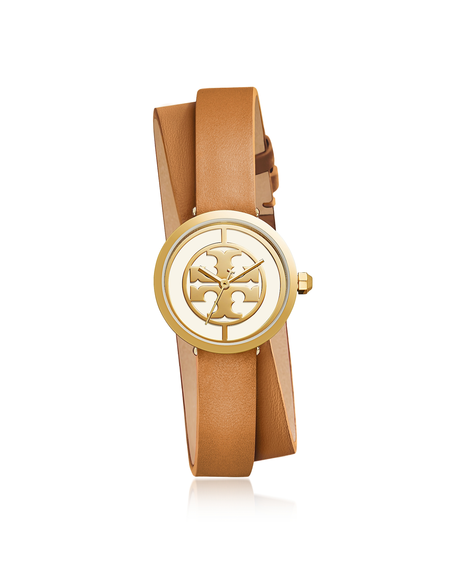 Tory Burch Women's Watches, TBW4018 The Reva Double Wrap Luggage Leather Women's Watch