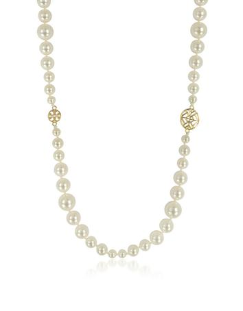 Evie Crystal Pearl Long Necklace
