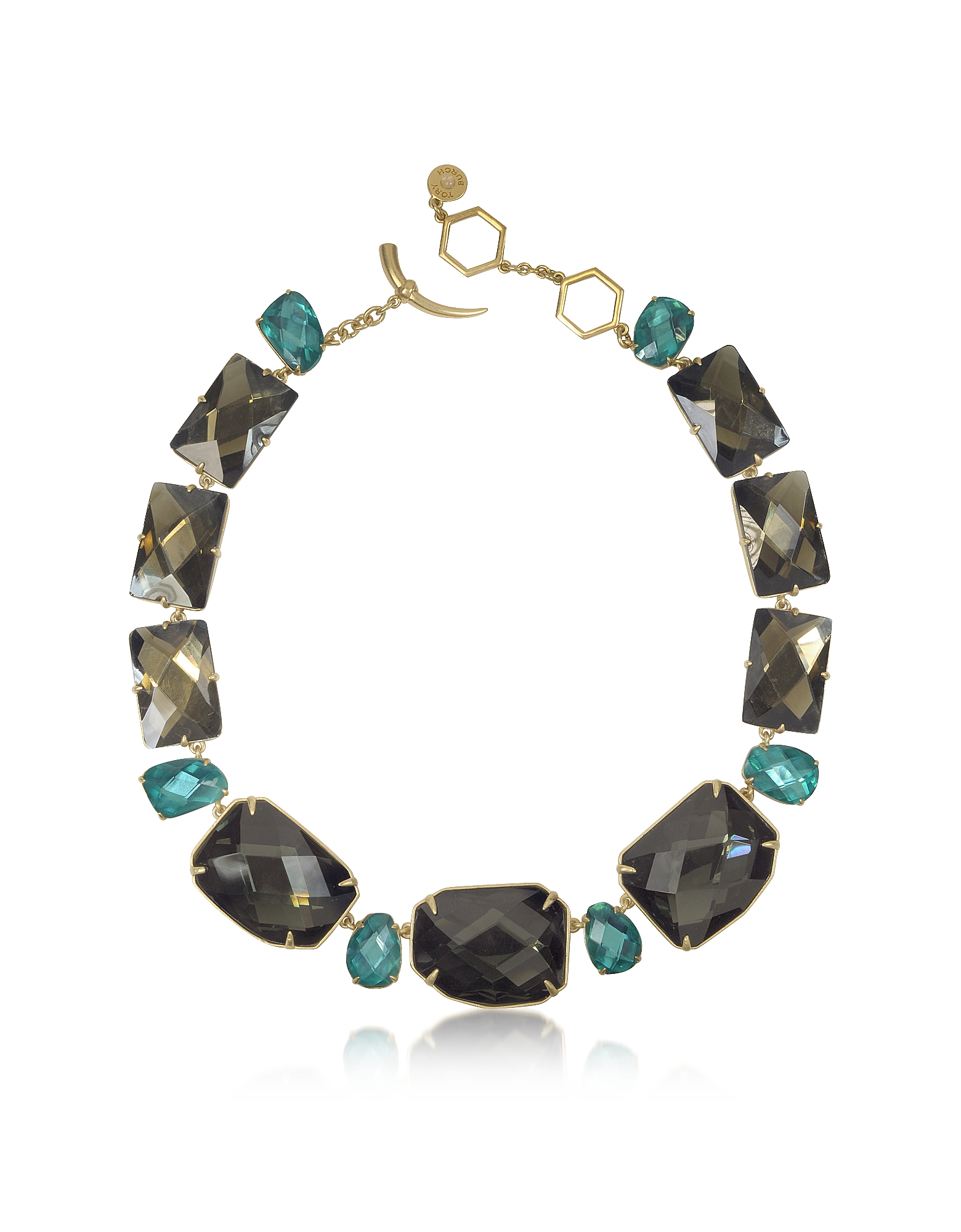 Tory Burch Ожерелье из Золотистой Меди с Кристаллами Оттенка Деним