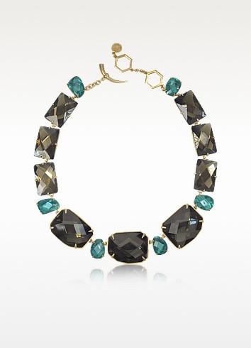 Goldtone Brass w/ Denim Blue Crystals Necklace - Tory Burch