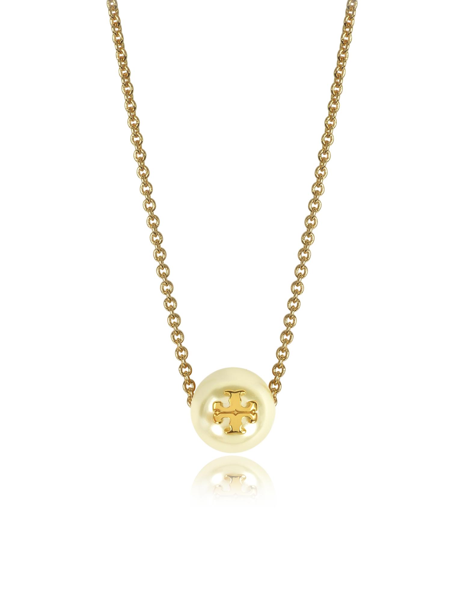 Tory Burch Золотистое Ожерелье из Меди со Стеклянной Жемчужиной Цвета Слоновой Кости