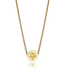 Ivory Crystal Pearl Goldtone Brass Chain Necklace - Tory Burch