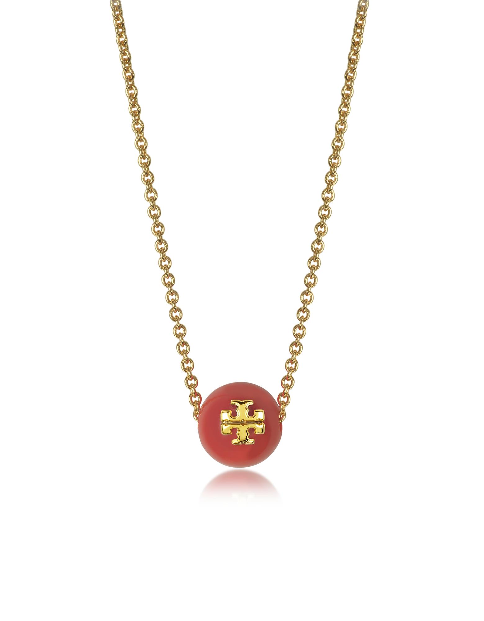 Золотистое Ожерелье из Меди со Стеклянной Жемчужиной Кораллово Красного Цвета