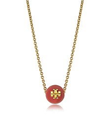 Coral Red Pearl Goldtone Brass Chain Necklace - Tory Burch