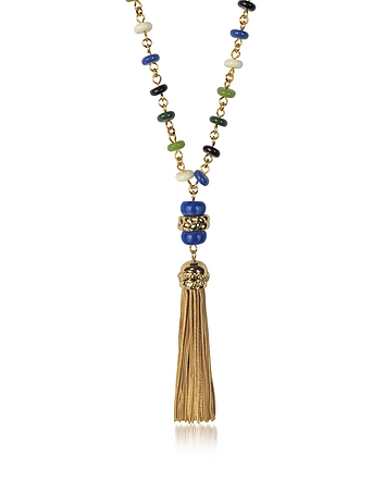 Tory Burch - Multicolor Beaded Tassel Long Necklace