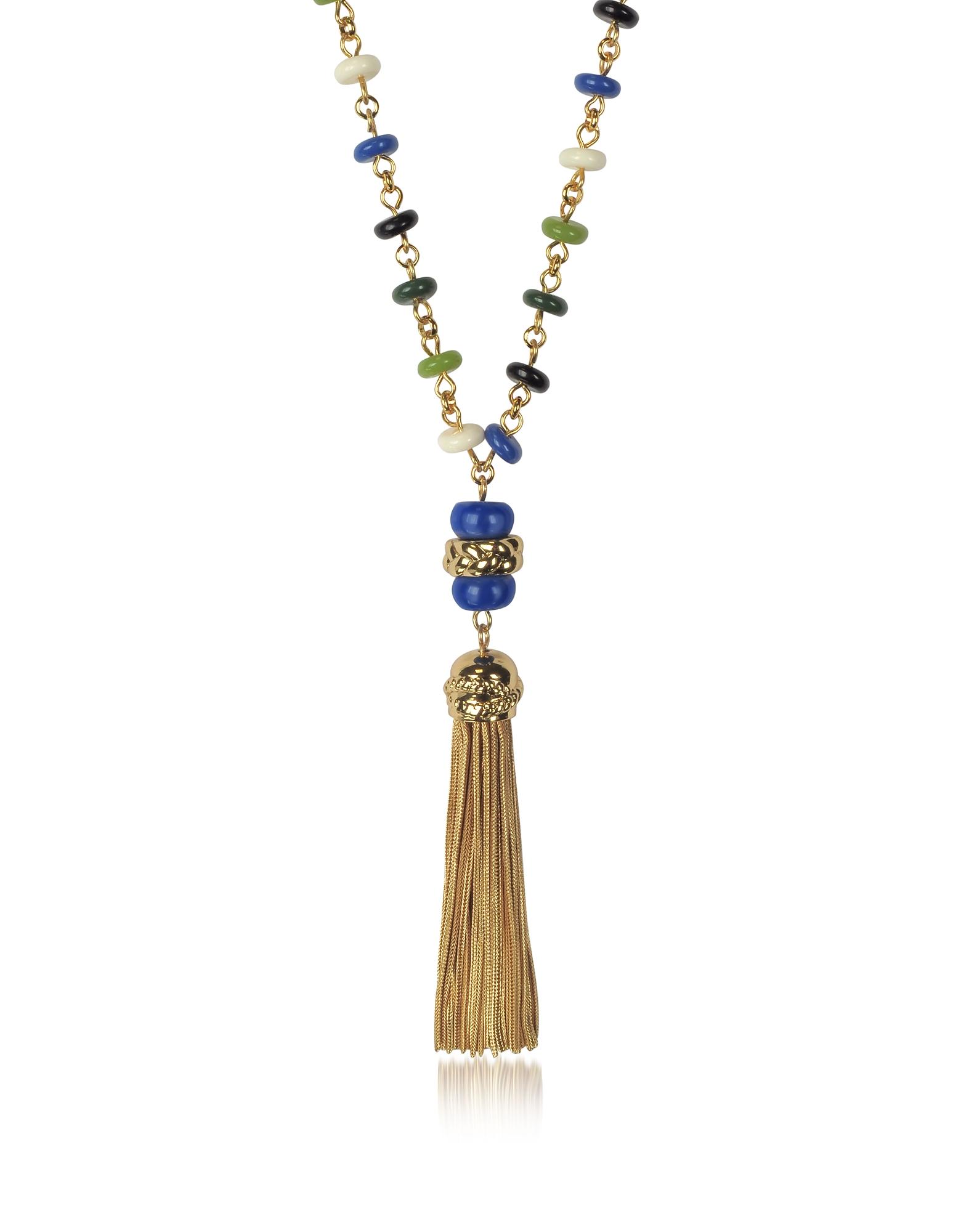 Разноцветное Длинное Ожерелье с Бусинками и Кисточкой