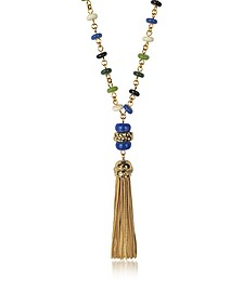 Multicolor Beaded Tassel Long Necklace - Tory Burch