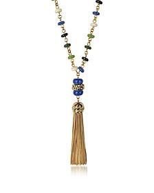 Sautoir en Métal Or avec Perles Multicolores et Pompon - Tory Burch