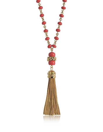 Tory Burch - Coral Red Beaded Tassel Long Necklace