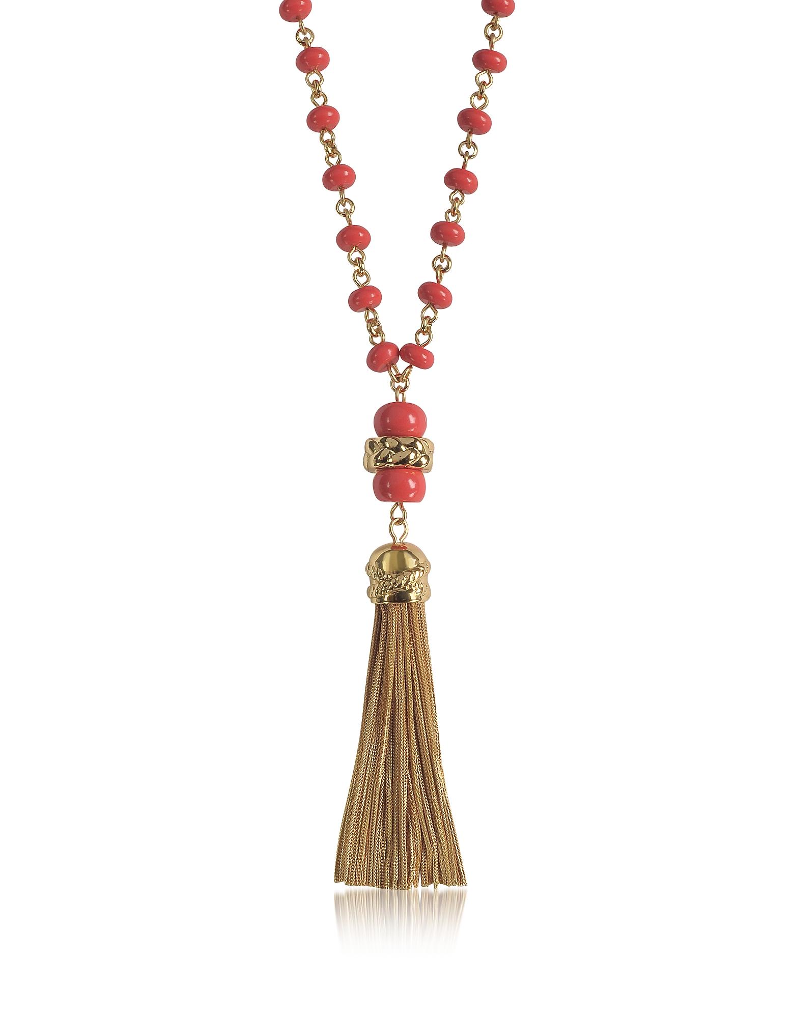 Длинное Ожерелье с Кисточкой и Кораллово-Красными Бусинками