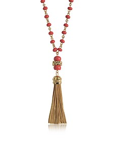 Coral Red Beaded Tassel Long Necklace - Tory Burch