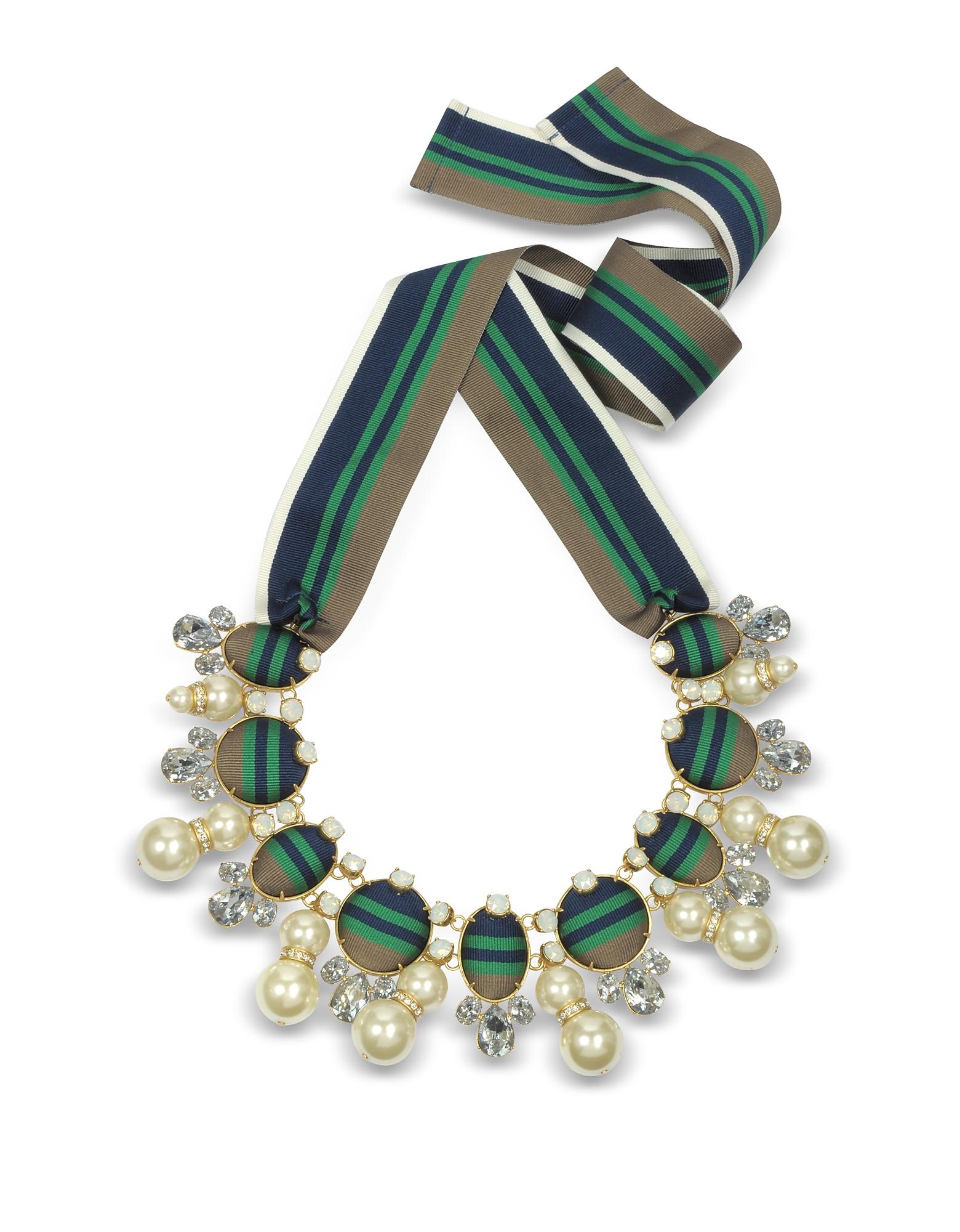 Винтажное Ожерелье с Лентой, Кристаллами и Стеклянными Жемчужинами