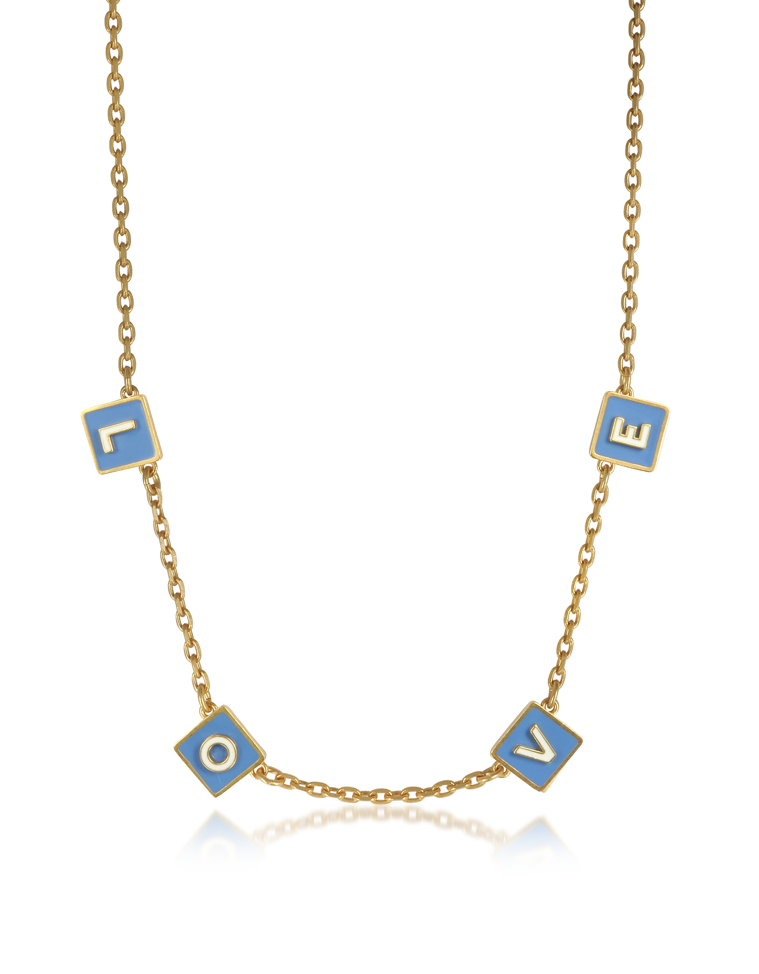 Tory Burch Necklaces, Sunny Blue/New Ivory Enamel and Vintage Gold Brass Message Choker Necklace